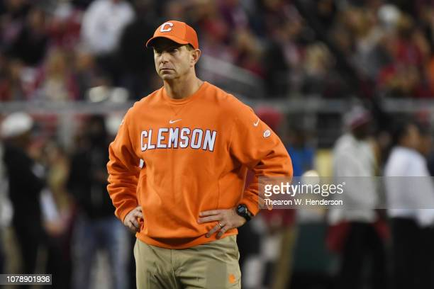 Head coach Dabo Swinney of the Clemson Tigers looks on during warm ups prior to the CFP National Championship against the Alabama Crimson Tide...