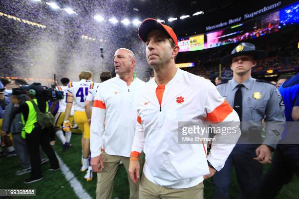 Head coach Dabo Swinney of the Clemson Tigers reacts after being defeated 42-25 by the LSU Tigers in the College Football Playoff National...