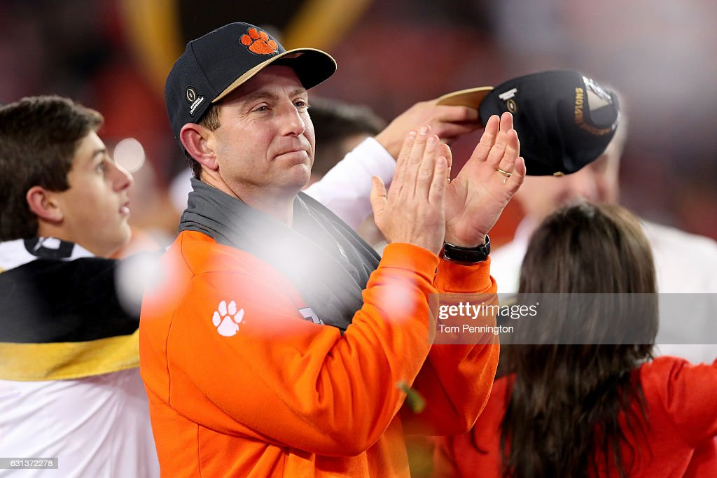 Head coach Dabo Swinney of the Clemson Tigers reacts after defeating the Alabama Crimson Tide 35-31 to win the 2017 College Football Playoff National Championship Game at Raymond James Stadium on January 9, 2017 in Tampa, Florida.