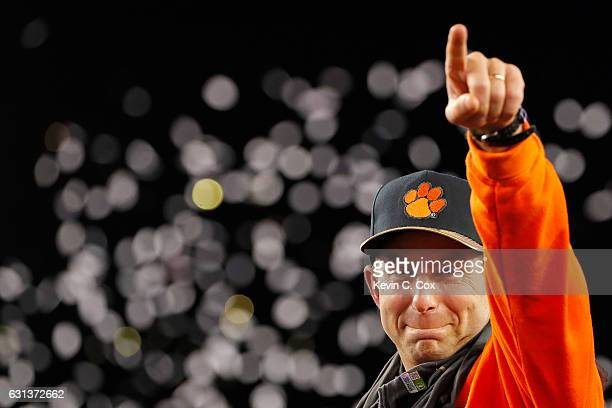 Head coach Dabo Swinney of the Clemson Tigers reacts after defeating the Alabama Crimson Tide 35-31 to win the 2017 College Football Playoff National...