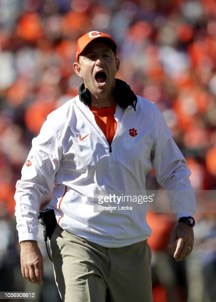 Head coach Dabo Swinney of the Clemson Tigers reacts against the Louisville Cardinals during their game at Clemson Memorial Stadium on November 3...