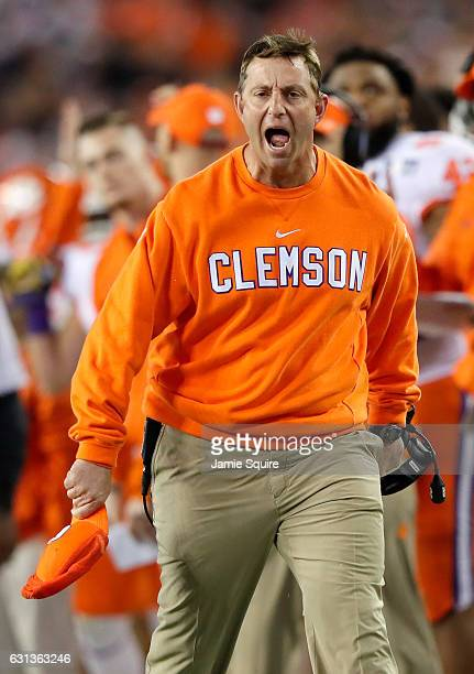 Head coach Dabo Swinney of the Clemson Tigers reacts during the first half against the Alabama Crimson Tide in the 2017 College Football Playoff...