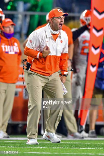 Head coach Dabo Swinney of the Clemson Tigers reacts in the fourth quarter against the Notre Dame Fighting Irish at Notre Dame Stadium on November 7,...
