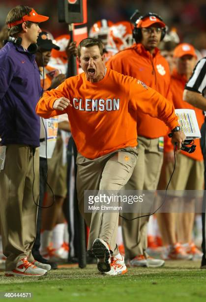 Head coach Dabo Swinney of the Clemson Tigers reacts on the sideline in the third quarter against the Ohio State Buckeyes during the Discover Orange...
