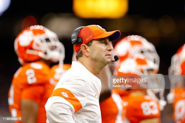 Head coach Dabo Swinney of the Clemson Tigers takes to the field after halftime against the LSU Tigers in the College Football Playoff National...