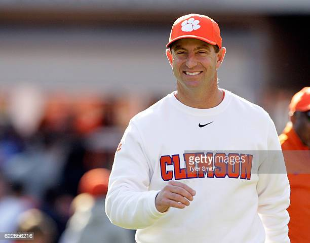 Head Coach Dabo Swinney of the Clemson Tigers walks onto the field prior to the game against the Pittsburgh Panthers at Memorial Stadium on November...