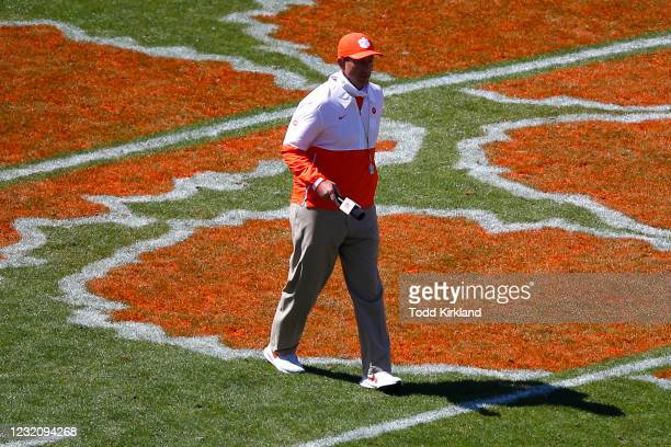 Head coach Dabo Swinney of the Clemson Tigers watches on during the second half of the Clemson Orange and White Spring Game at Memorial Stadium on...