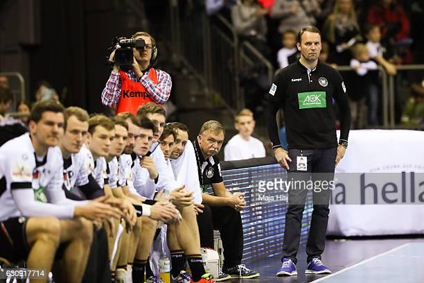 Head coach Dagur Sigurdsson of Germany looks on during the International Handball Friendly match Germany v Romania on January 3 2017 in Krefeld...