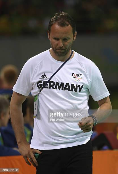 Head coach Dagur Sigurdsson of Germany looks on during the Men's Preliminary Group B match between Sweden and Germany at on Day 2 of the Rio 2016...