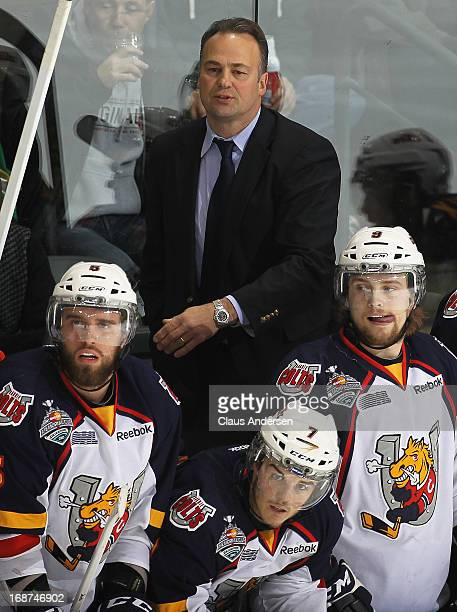 Head coach Dale Hawerchuk of the Barrie Colts reacts to a play against the London Knights in Game Seven in the 2013 OHL Championship Final on May 13,...