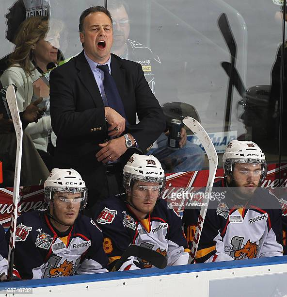 Head coach Dale Hawerchuk of the Barrie Colts voices his displeasure against the London Knights in Game Seven in the 2013 OHL Championship Final on...