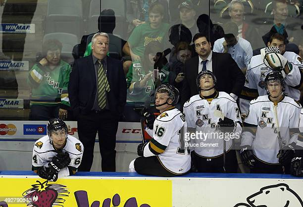 Head coach Dale Hunter of the London Knights watches the scoreboard during the closing minutes of a 72 loss to the Guelph Storm during the 2014...