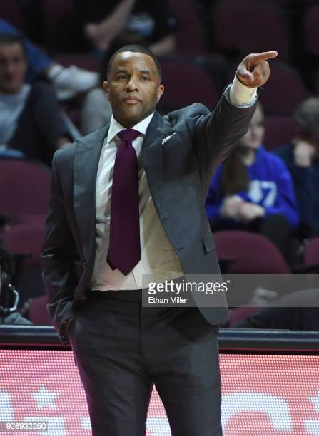 Head coach Damon Stoudamire of the Pacific Tigers gestures during a quarterfinal game of the West Coast Conference basketball tournament against the...