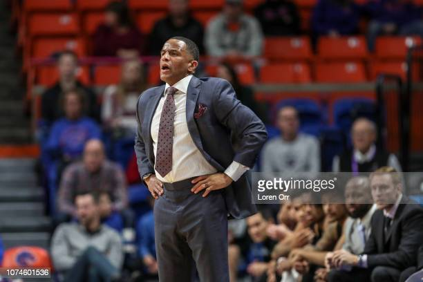 Head coach Damon Stoudamire of the Pacific Tigers looks on during first half action against the Boise State Broncos on December 22 2018 at Taco Bell...