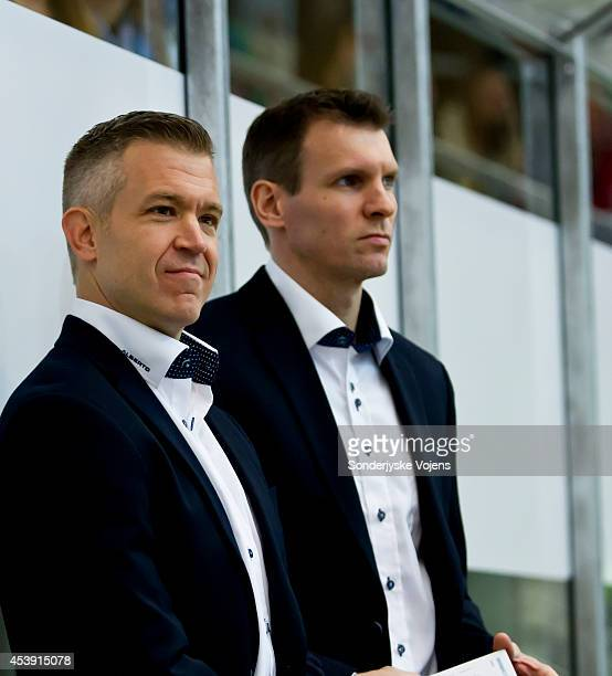 Head Coach Dan Ceman and assistant coach Christopher Straube of Sonderjyske look on during the Champions Hockey League group stage game between...