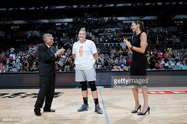Head Coach Dan Hughes and General Manager Ruth Riley of the San Antonio Stars stand with Jayne AppelMarinelli of the San Antonio Stars during her...