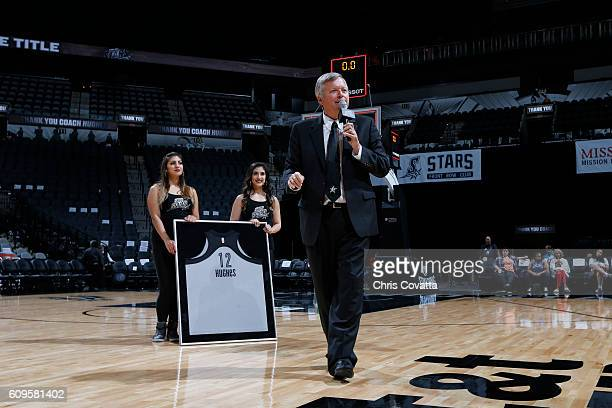 Head Coach Dan Hughes of the San Antonio Stars during his retirement ceremony after the game against the Phoenix Mercury on September 18 2016 at ATT...