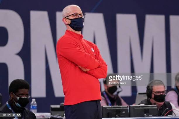 Head coach Dan Hurley of the Connecticut Huskies during the semifinal game against the Creighton Bluejays in the Big East Tournament at Madison...
