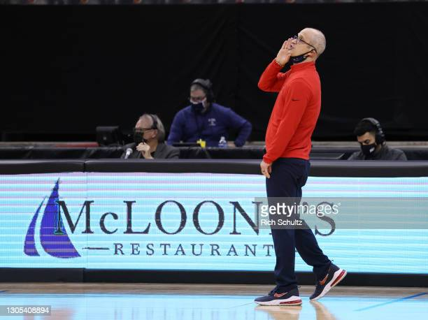 Head coach Dan Hurley of the Connecticut Huskies reacts during an NCAA college basketball game against the Seton Hall Pirates at Prudential Center on...