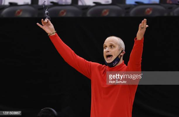 Head coach Dan Hurley of the Connecticut Huskies reacts during the first half of an NCAA college basketball game against the Seton Hall Pirates at...