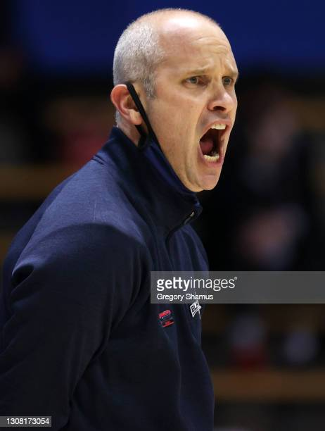 Head coach Dan Hurley of the Connecticut Huskies reacts during the second half against the Maryland Terrapins in the first round game of the 2021...