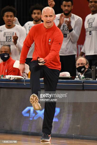 Head coach Dan Hurley of the Connecticut Huskies reacts to a call during the Big East Men's Basketball Tournament - Semifinals college basketball...