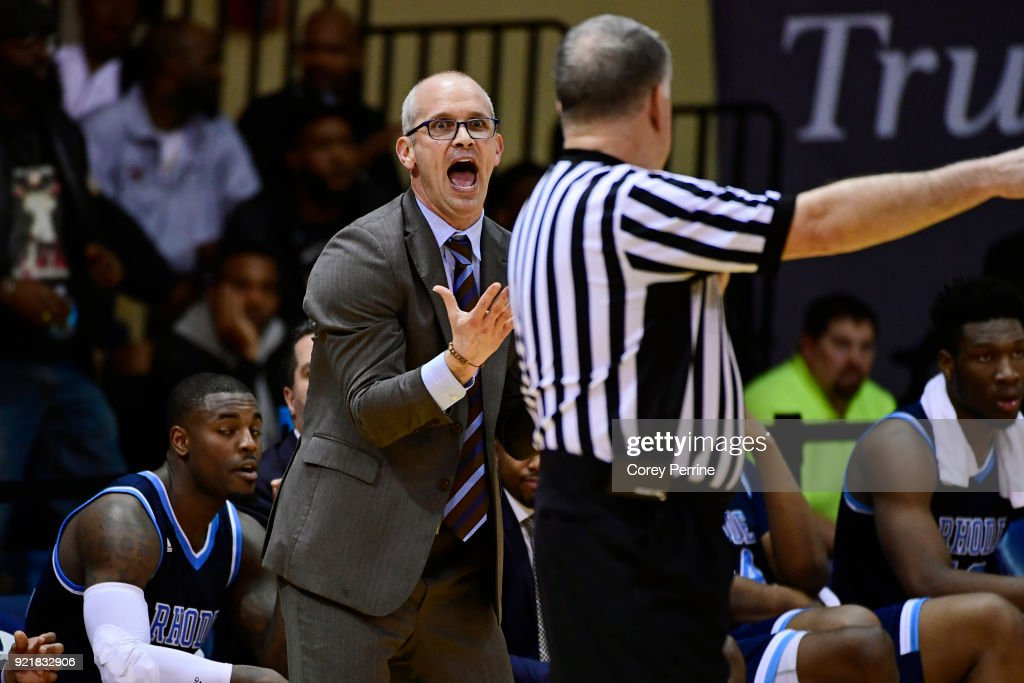 Head coach Dan Hurley of the Rhode Island Rams disputes a call with the referee during the second half at Tom Gola Arena on February 20, 2018 in Philadelphia, Pennsylvania. Rhode Island edged La Salle 95-93 in overtime.