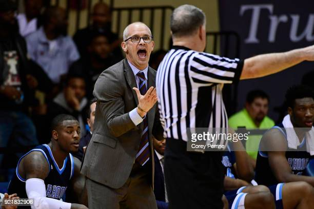 Head coach Dan Hurley of the Rhode Island Rams disputes a call with the referee during the second half at Tom Gola Arena on February 20 2018 in...