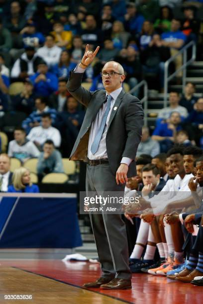 Head coach Dan Hurley of the Rhode Island Rams reacts against the Duke Blue Devils during the first half in the second round of the 2018 NCAA Men's...