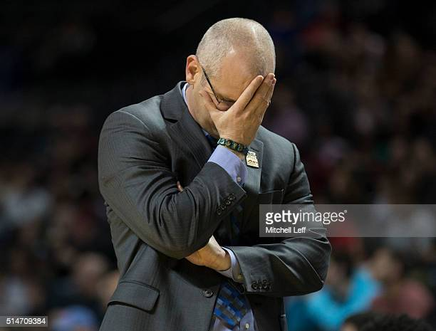Head coach Dan Hurley of the Rhode Island Rams reacts in the game against the Massachusetts Minutemen in the second round of the men's Atlantic 10...