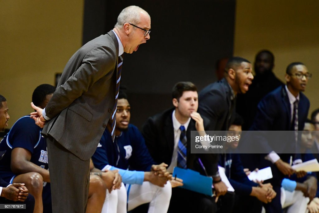 Head coach Dan Hurley of the Rhode Island Rams yells to his team against the La Salle Explorers during the first half at Tom Gola Arena on February 20, 2018 in Philadelphia, Pennsylvania.