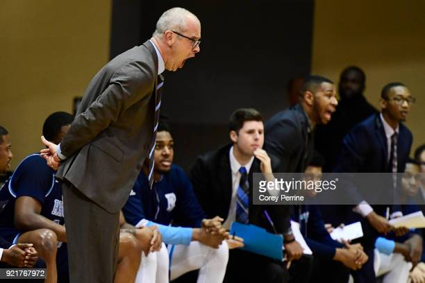 Head coach Dan Hurley of the Rhode Island Rams yells to his team against the La Salle Explorers during the first half at Tom Gola Arena on February...