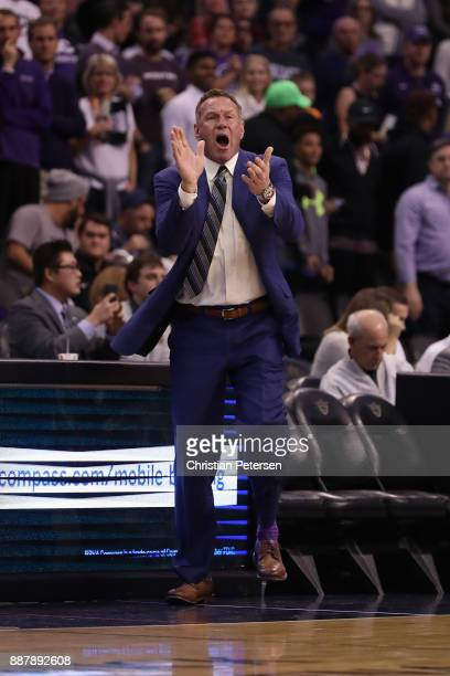 Head coach Dan Majerle of the Grand Canyon Antelopes reacts during the first half of the college basketball game against the St John's Red Storm at...