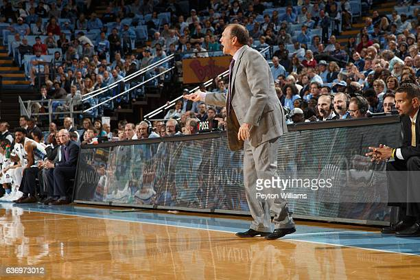 Head coach Dan Monson of the Long Beach State 49ers coaches against the North Carolina Tar Heels on November 15 2016 at the Dean Smith Center in...