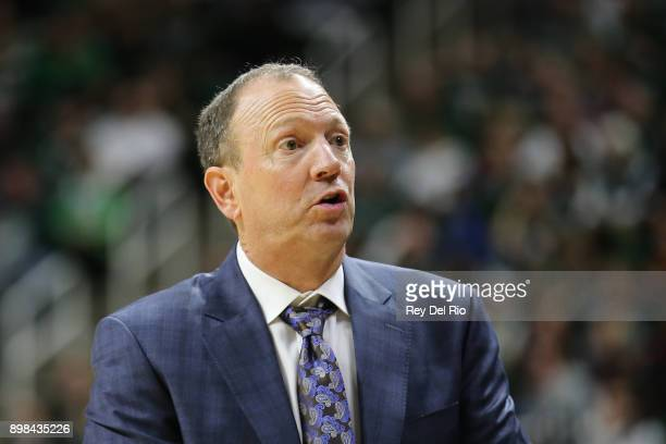 Head coach Dan Monson of the Long Beach State 49ers looks on during the game against the Michigan State Spartans at Breslin Center on December 21...