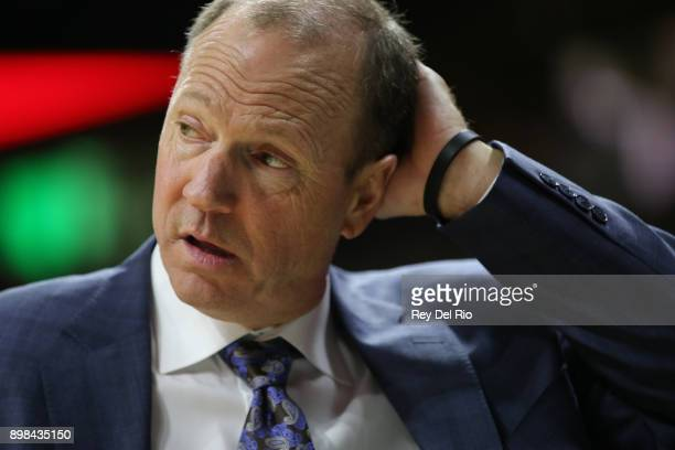 Head coach Dan Monson of the Long Beach State 49ers looks on from the bench during the game against the Michigan State Spartans at Breslin Center on...