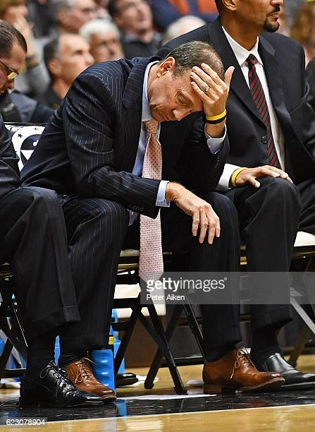 Head coach Dan Monson of the Long Beach State 49ers reacts as the 49ers lose 9255 to the Wichita State Shockers on November 13 2016 at Charles Koch...