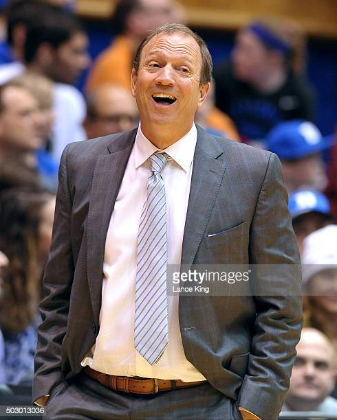 Head Coach Dan Monson of the Long Beach State 49ers reacts following a play against the Duke Blue Devils at Cameron Indoor Stadium on December 30...