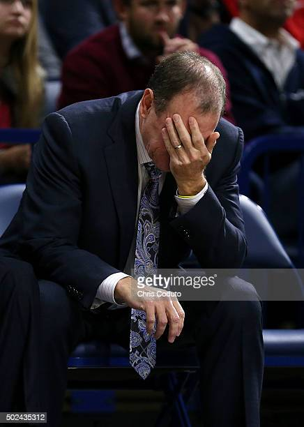 Head coach Dan Monson of the Long Beach State 49ers reacts to a foul call during the first half of the college basketball game at McKale Center on...