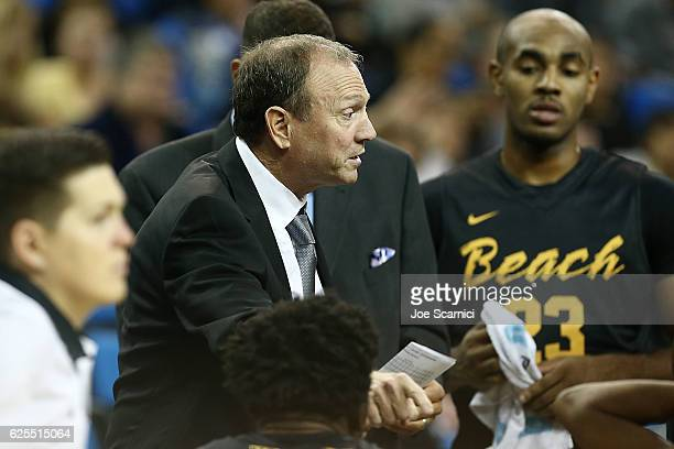 Head coach Dan Monson of the Long Beach State 49ers talks to his team during a timeout during a 70114 loss against the UCLA Bruins at Pauley Pavilion...