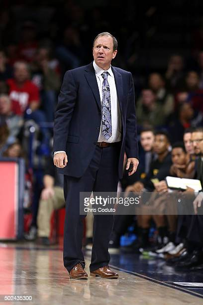 Head coach Dan Monson of the Long Beach State 49ers watches the action during the second half of the college basketball game at McKale Center on...