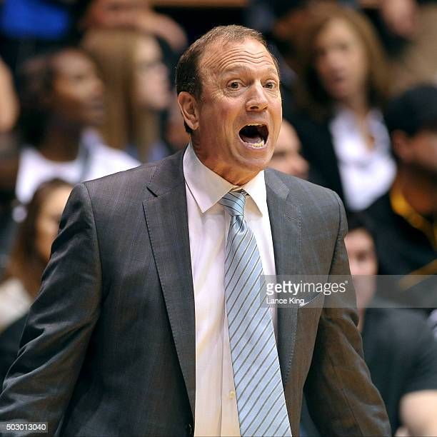 Head Coach Dan Monson of the Long Beach State 49ers yells at a referee following a play against the Duke Blue Devils at Cameron Indoor Stadium on...