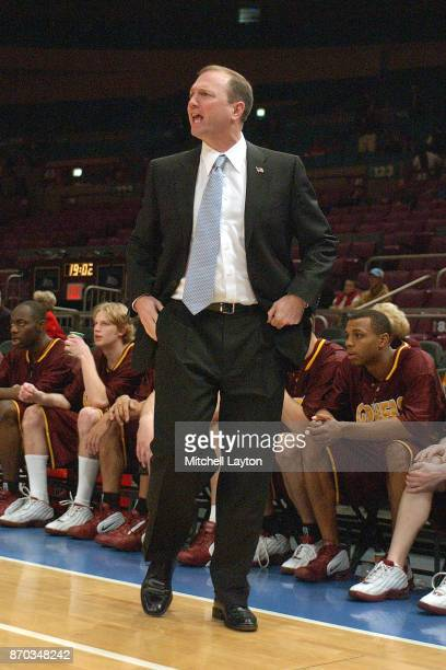 Head coach Dan Monson of the Minnesota Gophers looks on during the constellation game of the NIT college basketball game against the Texas Tech Red...