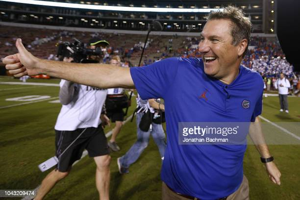 Head coach Dan Mullen of the Florida Gators celebrates a win over Mississippi State Bulldogs at Davis Wade Stadium on September 29, 2018 in...