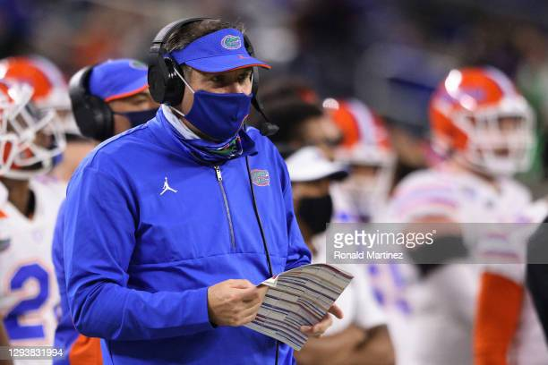 Head coach Dan Mullen of the Florida Gators looks on against the Oklahoma Sooners during the third quarter at AT&T Stadium on December 30, 2020 in...