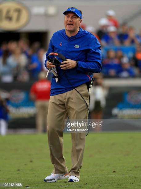 Head coach Dan Mullen of the Florida Gators looks on during a game against the Georgia Bulldogs at TIAA Bank Field on October 27, 2018 in...