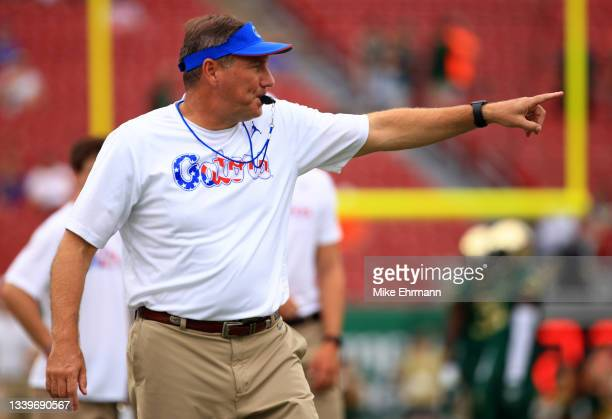 Head coach Dan Mullen of the Florida Gators looks on during a game against the South Florida Bulls at Raymond James Stadium on September 11, 2021 in...
