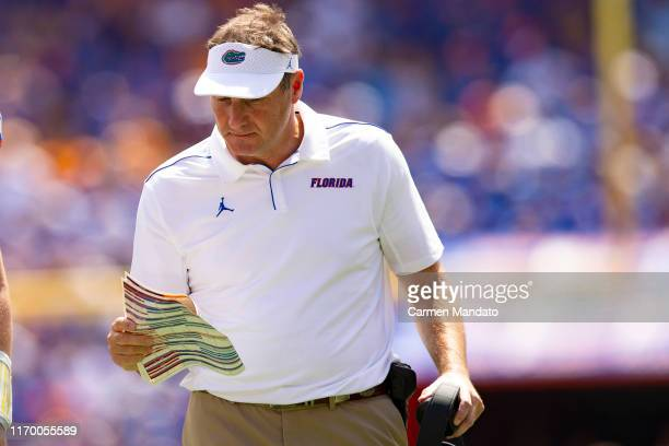 Head coach Dan Mullen of the Florida Gators looks on during the first half of the game against the Tennessee Volunteers at Ben Hill Griffin Stadium...