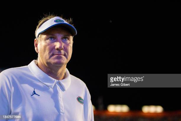 Head coach Dan Mullen of the Florida Gators looks on during the second quarter of a game against the Tennessee Volunteers at Ben Hill Griffin Stadium...