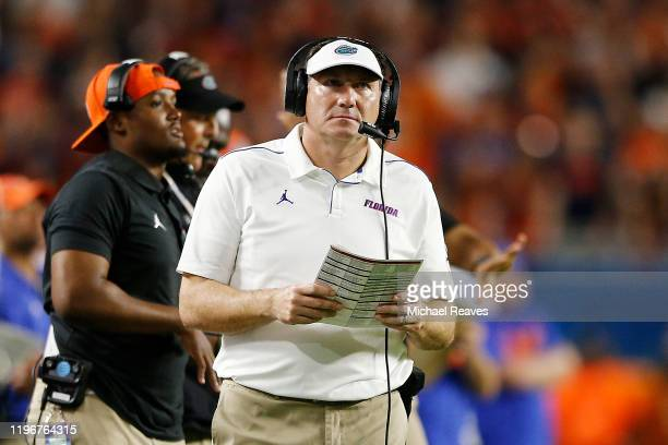 Head coach Dan Mullen of the Florida Gators reacts against the Virginia Cavaliers during the first half of the Capital One Orange Bowl at Hard Rock...